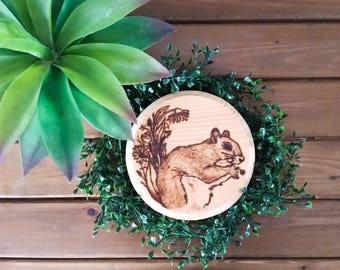 Whimsical Squirrel Wood Burned Art Gift Decor - Woodland Creatures - Flower Pyrography