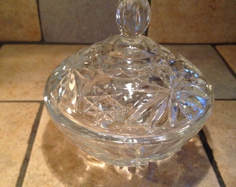 Clear Round Covered Candy Dish or Condiment Jar
