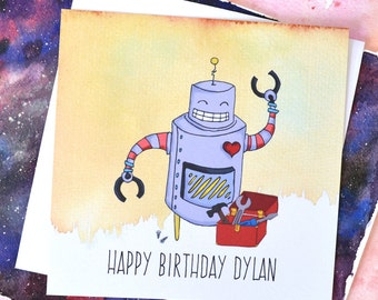 Personalised Happy Birthday Robot Card - Blank Inside