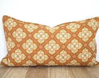 Burnt orange lumbar pillow cover for outdoor furniture, rust outdoor pillow case fall decor, ikat cushion for outside bench, outdoor lumbar