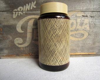 Vintage Retro Glass Cremora Jar Brown Storage Jug