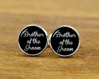 brother of the groom cufflinks, custom personalized wedding cuff links, custom round or square cufflinks & tie clips, groom cufflink for men