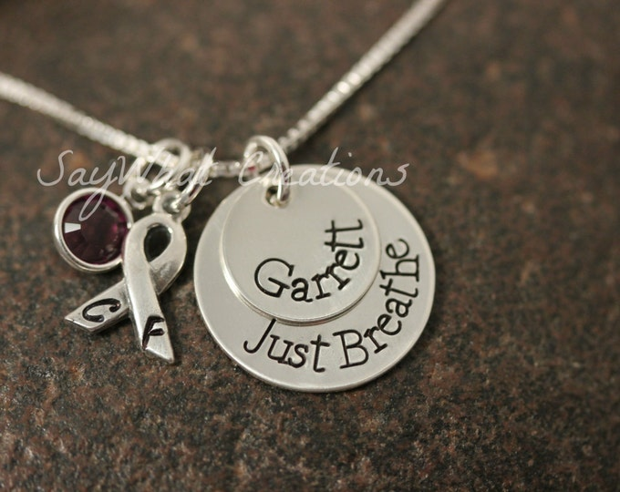 Custom Hand Stamped Sterling Silver Cystic Fibrosis CF Awareness Necklace Just Breathe