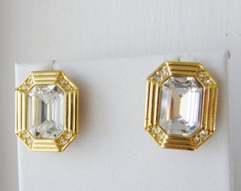 Vintage Art deco style gold earrings with clear crystals (D7)