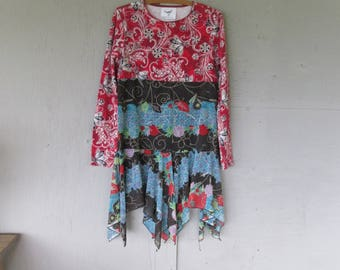 Sale M upcycled dress recycled clothing  fun clothes Bohemian Lagenlook reclaimed sustainable clothing LillieNoraDryGoods