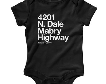 Baby Tampa Bay Football Stadium Romper - Infant One Piece, Creeper - NB 6m 12m 18m 24m - Tampa Florida Shirt, Sports, Gift, Fan - 4 Colors