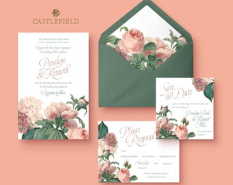 Castlefield Pink Hydrangea Roses Peonies Antique Floral Wedding Event Invitations Insert Envelope Liner Stationery Customized Printable