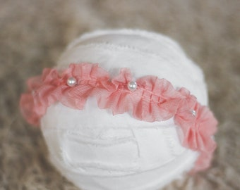 Pink Ruffles and Pearls Fabric Headband Newborn Photography Prop