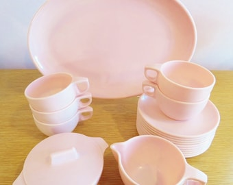 Vintage Pink Melmac Dishes - Cups, Plates, Sugar Bowl, Creamer, Platter - 19 Pieces - Watertown Lifetime Wear - Retro Camping