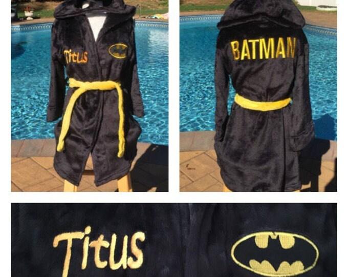 Boys Size 4-8 BATMAN Robe - Personalized Monogrammed