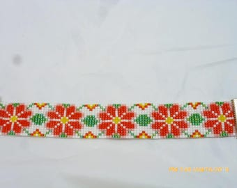 Hand Loomed Beaded Bracelet in Orangish Red, Yellow & Green with SP Ends~ Free Shipping