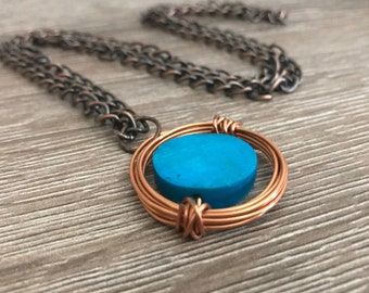Copper and Blue Wire Wrapped Necklace hand made gift for her