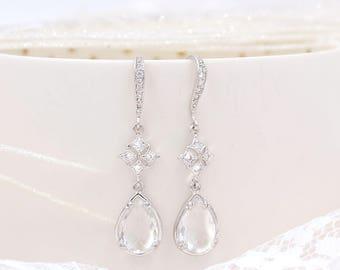 Earrings bridal Lubna Crystal jewelry wedding accessory bridal earrings luxury wedding earrings Bridesmaids earrings