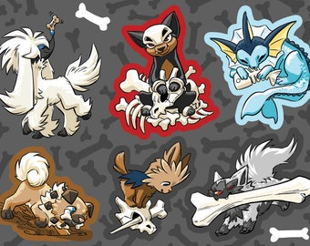 POKEMON PUP Vinyl Sticker Sheet. Dog / Fox / Puppy Pokemon: Houndour, Lillipup, Vaporeon, Rockruff, Poochyena, Furfrou Cute Doggo Stickers.