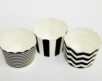 Cupcake Baking Cups, 20 Black Baking Cups, Candy / Nut Cup, Baking Cups, Ring Stripe, Vertical Stripe, Chevron, Cup, Baby Shower, Party