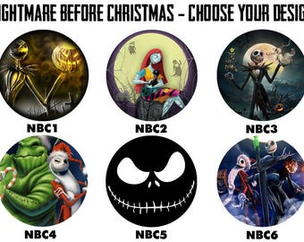 "NIGHTMARE BEFORE CHRISTMAS 2.25"" Button Style Pins, Mirrors, Magnets, Bottle Openers & Keychains"