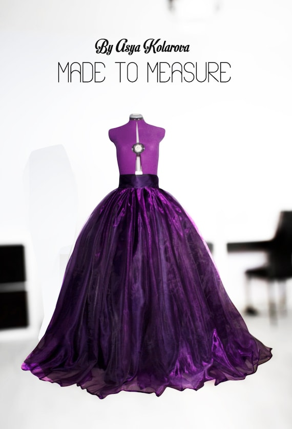 Purple organza ball gown Cathedral train Satin skirt Prom
