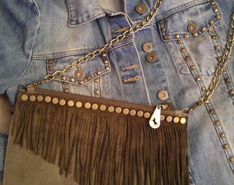Clutch, Leather Clutch, Fringe Bag,Personalized Purse,Monogram Leather Bag,Boho Leather Bag,Evening Bag,Fringe Leather Purse,Crossbody Purse