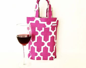 Wine Tote Bag, Wine bottle carrier, Wine Bag, Double wine bottle bag. Perfect gift just add wine.