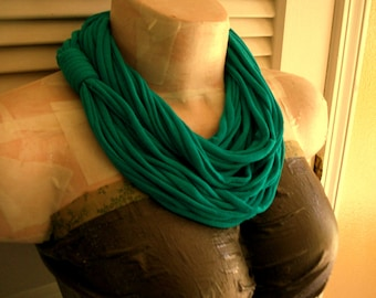 SALE Green Turquoise Infinity Multi Strand T shirt Jersey Scarf