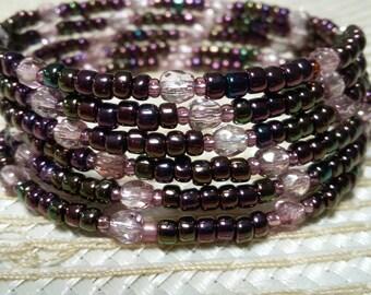 Purple small beaded bracelet