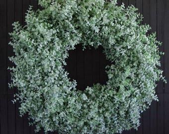 Spring Summer Artificial Boxwood Front Door Wreath