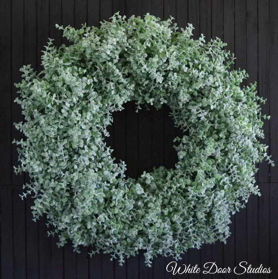 Flocked Boxwood Wreath for Front Door or Fireplace