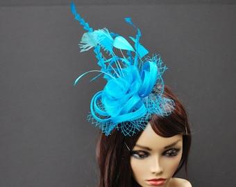 Turquoise Fascinator, Womens Tea Party Hat, Church Hat, Derby Hat, Fancy Hat, Turquoise Hat, Tea Party Hat, wedding hat