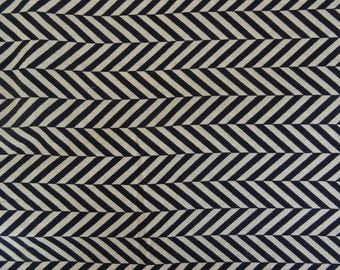 fabric, cotton, ivory and black herringbone collection