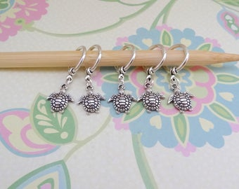 Set of 5 or 10 Silver Turtle/Tortoise Snag Free Knitting Stitch Markers, Knit Marker, Progress Markers, WIP Markers, Fits up to 9mm or US 13