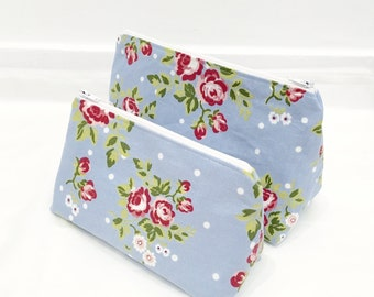Makeup Bag Set - Cath Kidston Style Fabric Toiletry Bag Set/ Floral Cosmetic Bag Set
