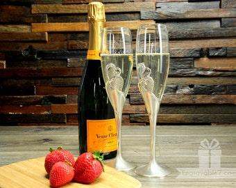 Custom Silver Heart Champagne Flutes