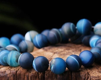 8mm-10mm Natural Frosted Stripe Agate Beads, Blue, Round, 15.4 Inch Strand (GA68)