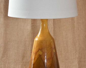 MID CENTURY MODERN Rust Brown Orange Mottled Drip Glaze Ceramic Vintage Table Lamp, Brass Neck & Base, Textured Optional Shade.
