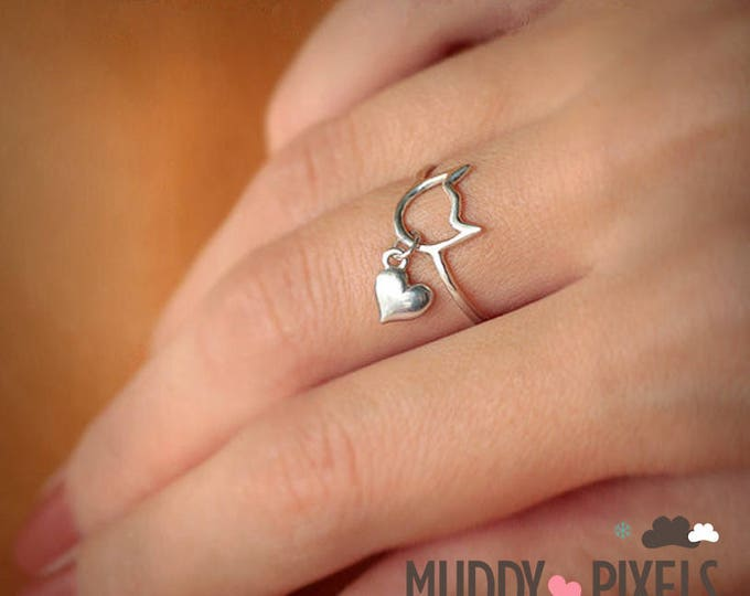 Adorable Kawaii Cat Ring with heart charm