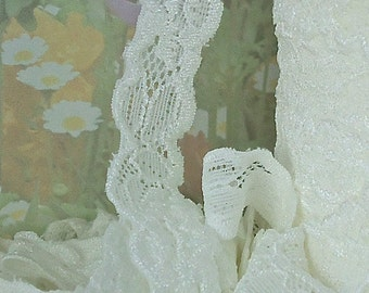 3yds Elastic Lace Stretch Ribbon Ivory Cream off White Stretch Lace Trim 5/8 inch Baby Headbands, lingerie Edging wedding lace