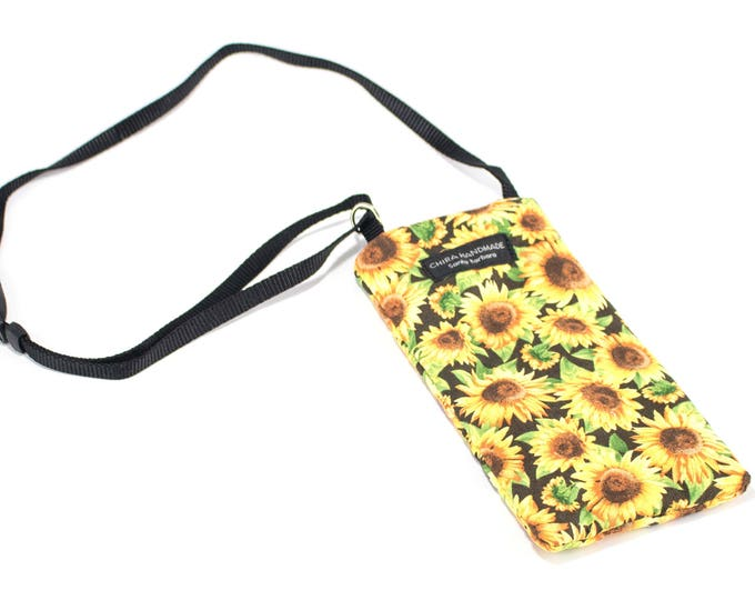 Eyeglass case for readers - Sunflower fabric Eyeglass Reader Case -with adjustable neck strap lanyard