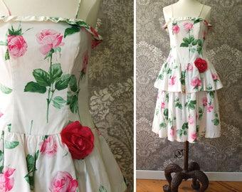 vintage 1980s dress <> 1980s floral print dress <> 80s cotton dress <> 80s party dress with floral rose print