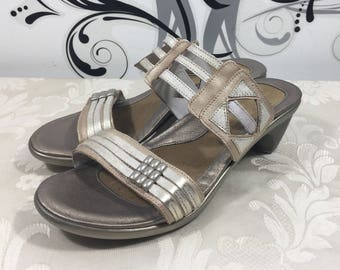 Women's sandals, Gold sandals, Size 39 sandals, Slip on shoes, Slide on shoes, Stylish sandals, Designer sandals