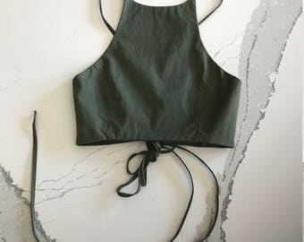 Army Green Cotton Lace up Halter