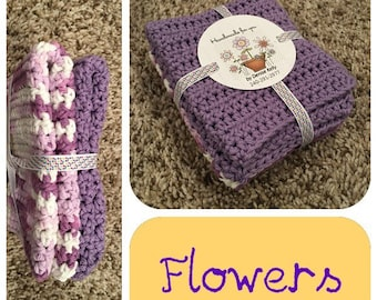 Crocheted Dishcloths-Flowers