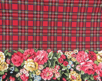 Fabric yardage Patricia Plaid Daisy Kingdom, Black-Red Plaid Floral Border Print
