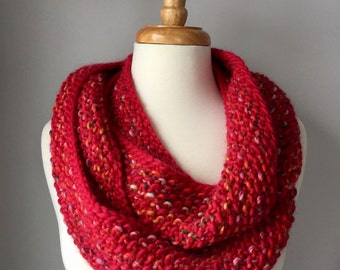 Knit Infinity Scarf - Red & Multicolored Seed Stitch Scarf - Wool and Handmade