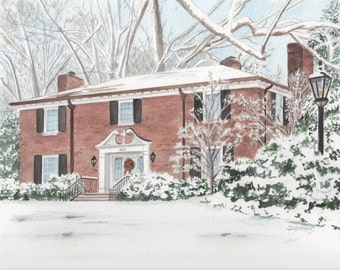 CUSTOM HOME PAINTING, in Watercolor by Suzanne Churchill, Perfect Realtor Closing, Housewarming, Anniversary or Wedding Gift, Parents Gift