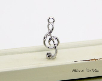 Music Note Charm, Silver Treble Clef Note Charm, Silver Muscial Note Charm, Silver G Clef Note Charm, Music Note Pendant