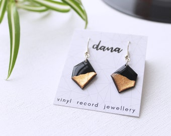 geometric earrings black and copper earrings minimalist earrings contemporary jewelry eco friendly gift for her vinyl record dangle earrings