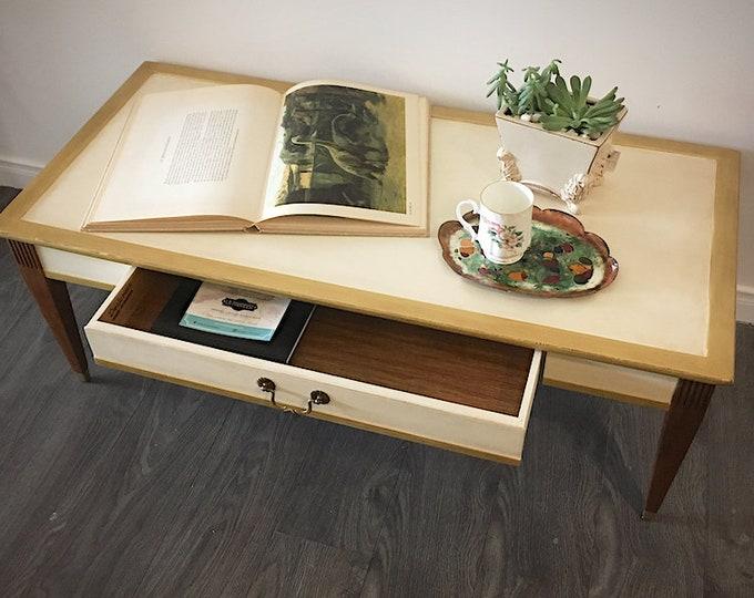 Upcycled vintage midcentury wood coffee table