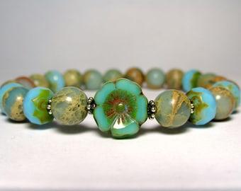 Jasper Flower Bracelet, Boho Hippie Bracelet, Womens Beaded Bracelet, Gemstone Bracelet, Stretch Bracelet, Blue Bracelet