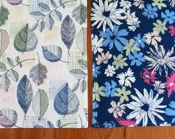 Navy Blue, Green and White Reversible Placemats with Leaves and Flowers, Cloth Table Mat, Art Gallery Sharon Holland Sketchbook