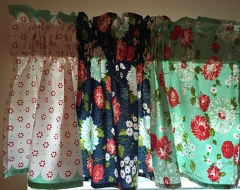 Vintage Style Kitchen Window Valance The Good Life Aqua Dot Red Dotty Navy  Floral Aqua Floral Retro Fun